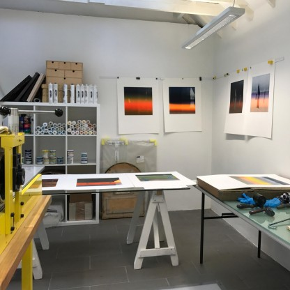 working environment in Barbara Raes studio on Stenness Stones prints web resolution